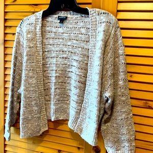 EUC Torrid size 1 knit shrug in tan and cream.